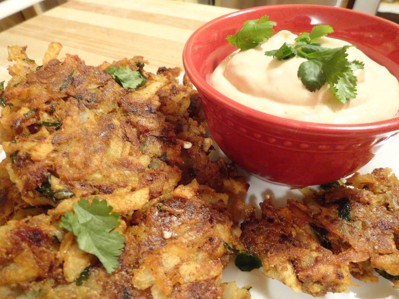 Spanish Potato Latkes with Chipotle Sour Cream