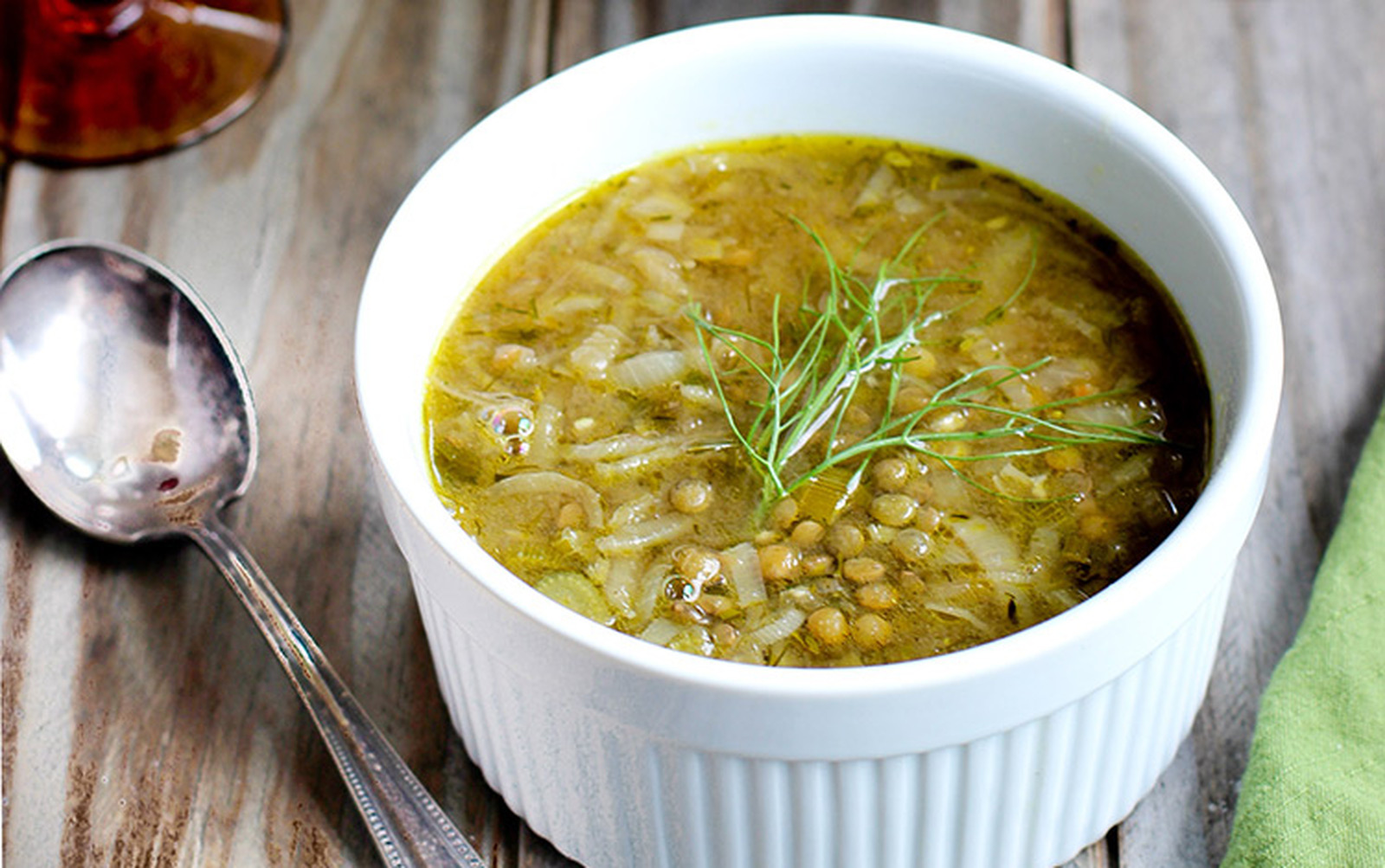 French Onion Fennel And Green Lentil Soup Vegan One Green