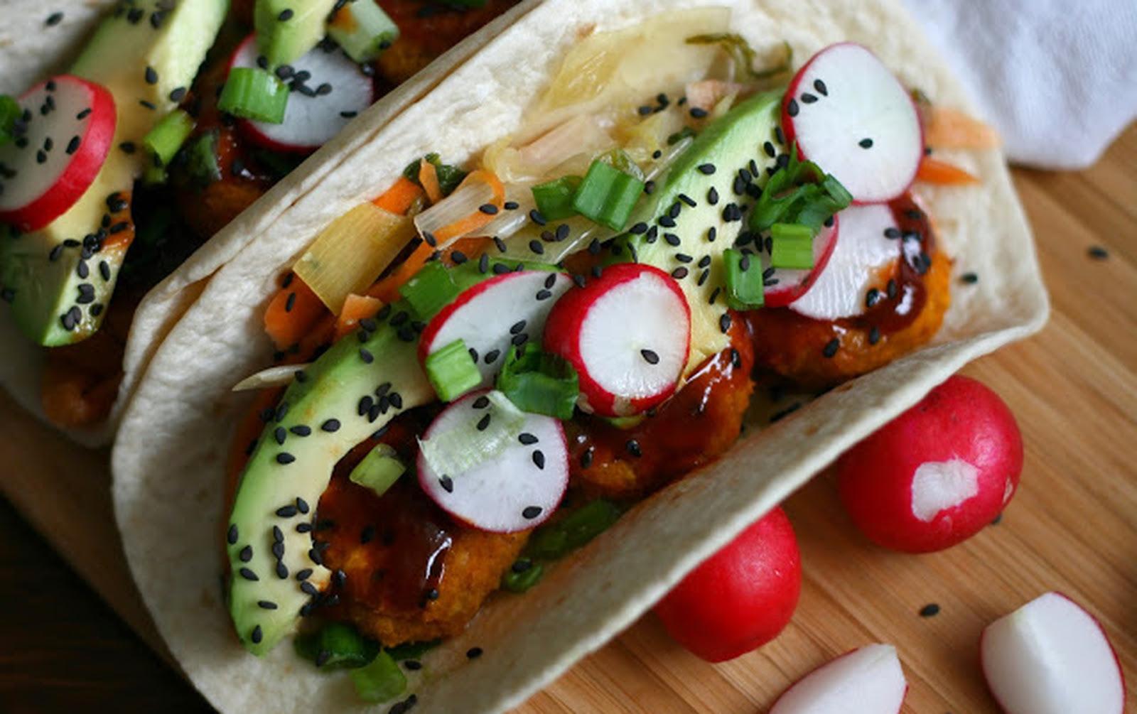 Korean Spicy Sweet Potato Falafel Tacos With White Kimchi [Vegan]