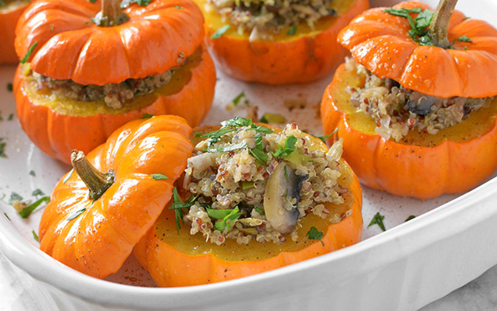 Savory Mushroom and Quinoa Stuffed Mini Pumpkins