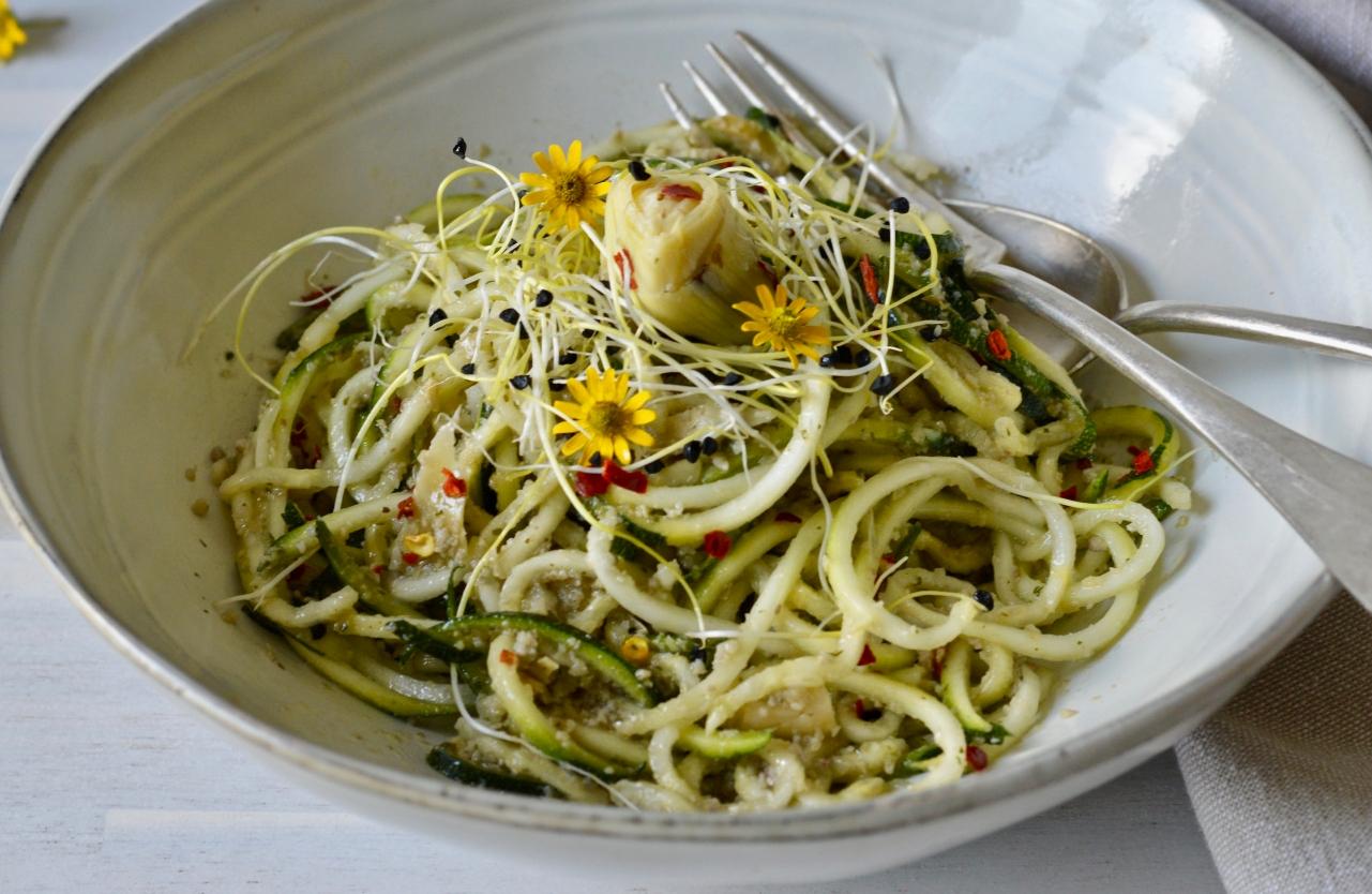 Artichoke Pesto Zucchini Noodles